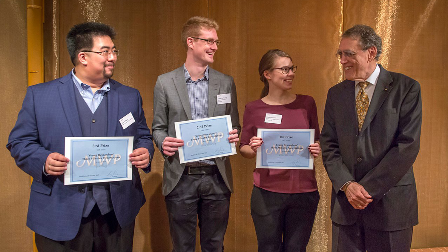 Jack Wang (far left) Young Researchers Symposium and Poster Presentation at Wallenberg Prize Presentation