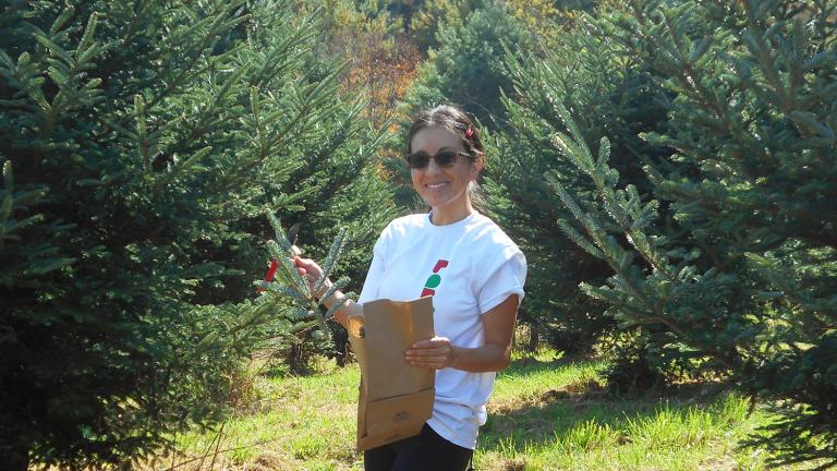 Lilian Matallana collecting samples