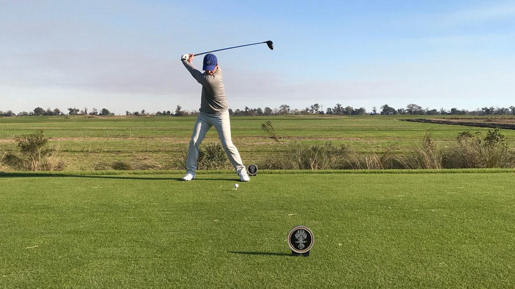 Pitch Riley golfing.