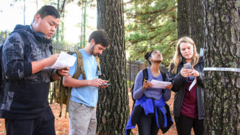 CNR students measuring trees