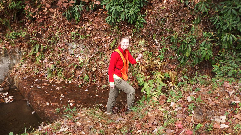 Student conducting field work
