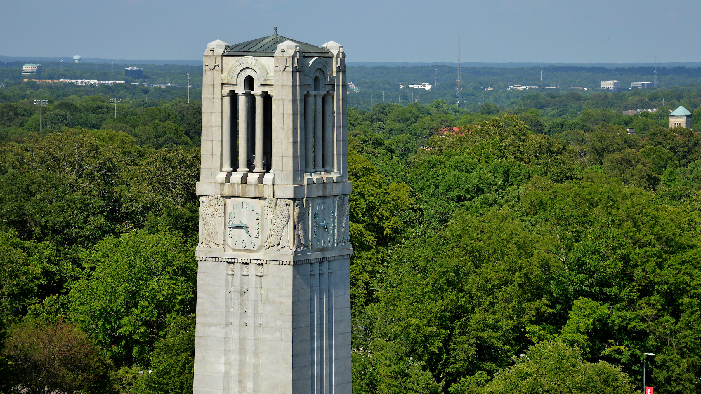 Belltower and trees to the east of campus.