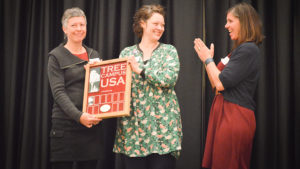Steph Jeffries Accepting Tree Campus USA Award