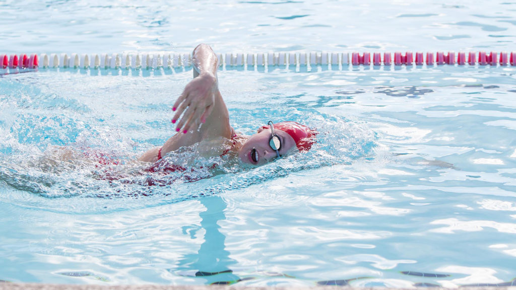 Student athlete swimming for NC State