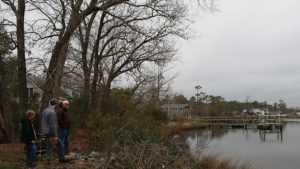 Student conducts research by lake