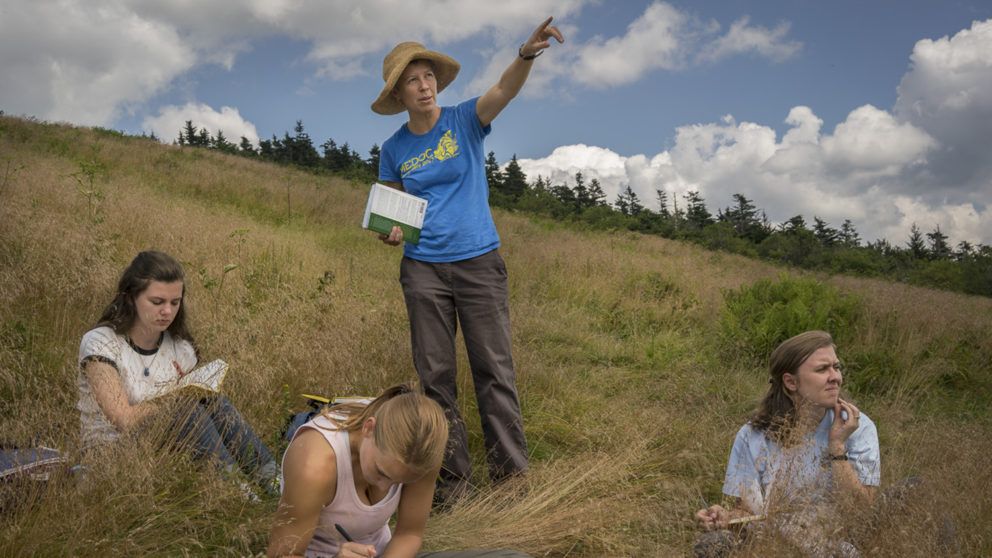 Dr Steph Jeffries teaching students in field