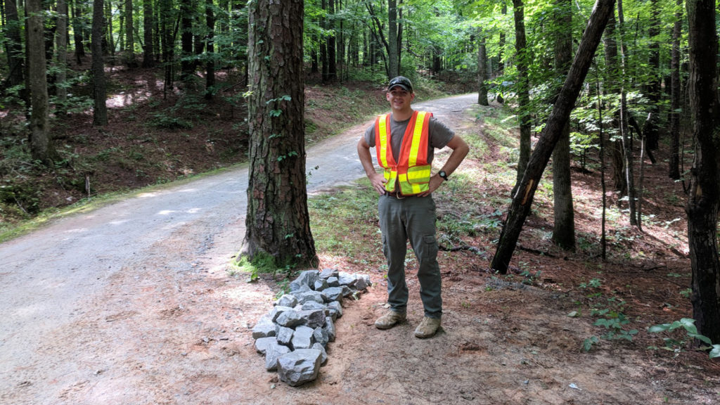 Student does field work in forest