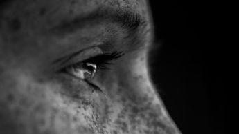 A woman's eye up close