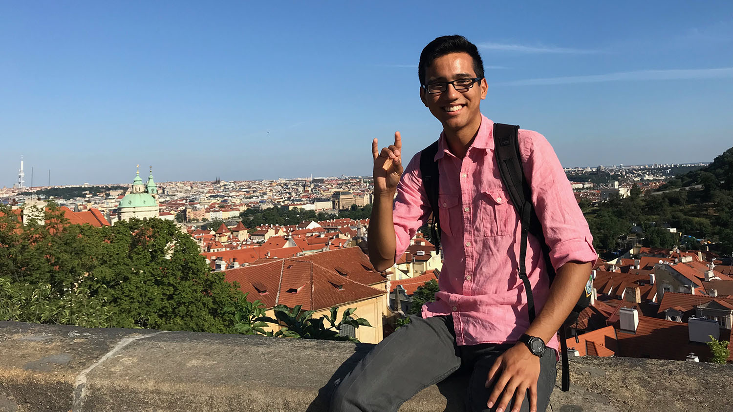 Daniel Amparo poses while conducting research in Germany