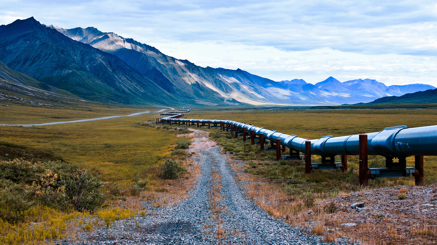 An image of the trans-alaskan oil pipeline that carries oil from the northern part of Alaska all the way to valdez. this shot is right near the arctic national wildlife refuge.
