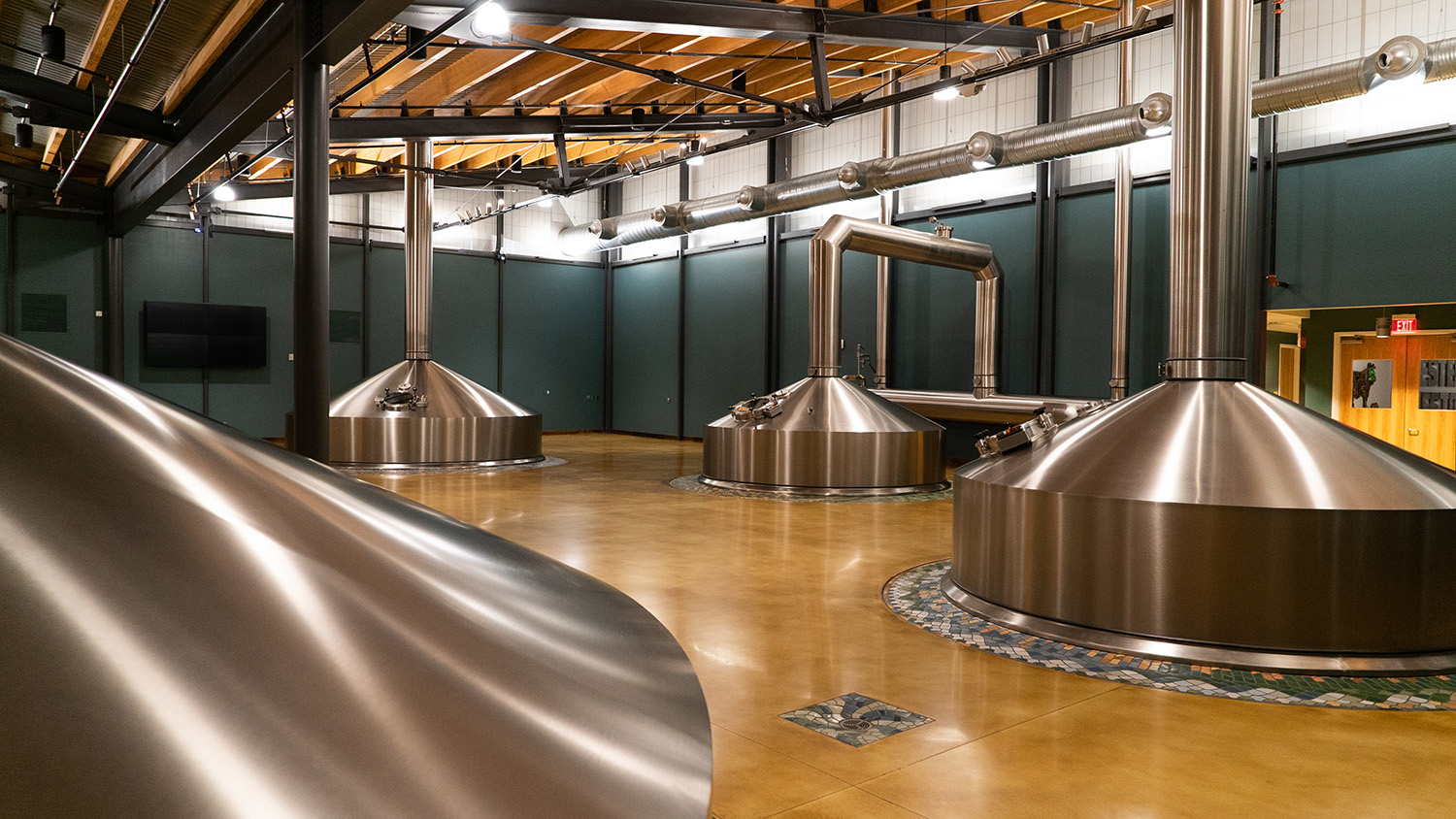 Steel tanks inside New Belgium's brewery in Asheville, NC