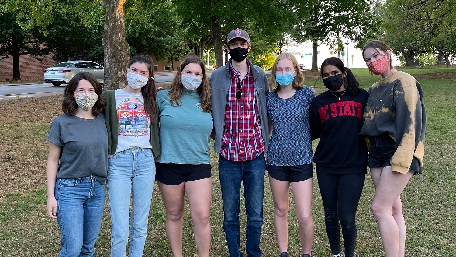 Student pose in a group - First-Year Students Grow to Become Dedicated Engaging Leaders - College of Natural Resources News NC State University
