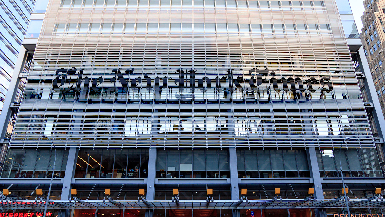New York Times logo on building front