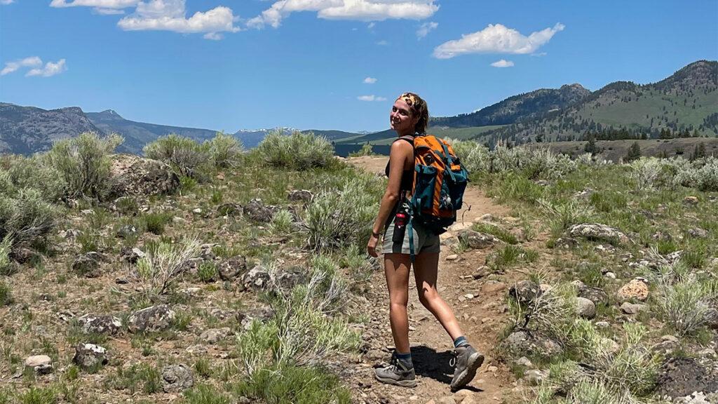 victoria hikes at Yellowstone