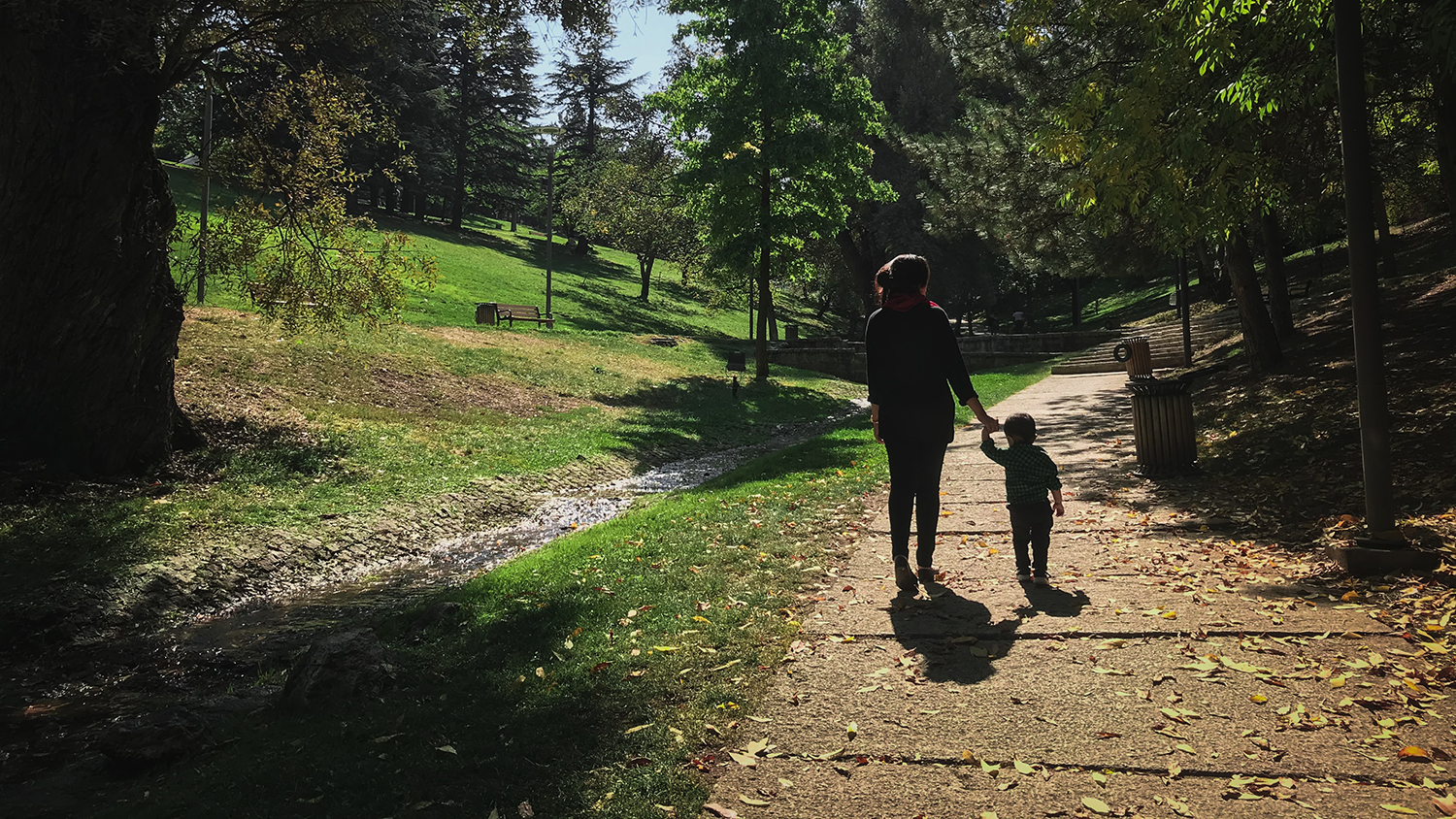 Woman and child walking in a park.
