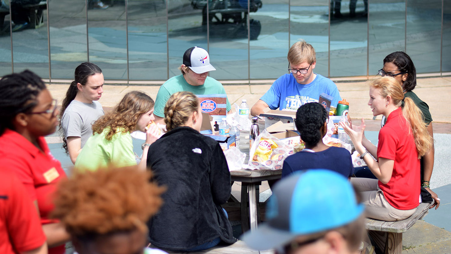 Students Eating Lunch Together - How to Apply -Parks Recreation and Tourism Management NC State