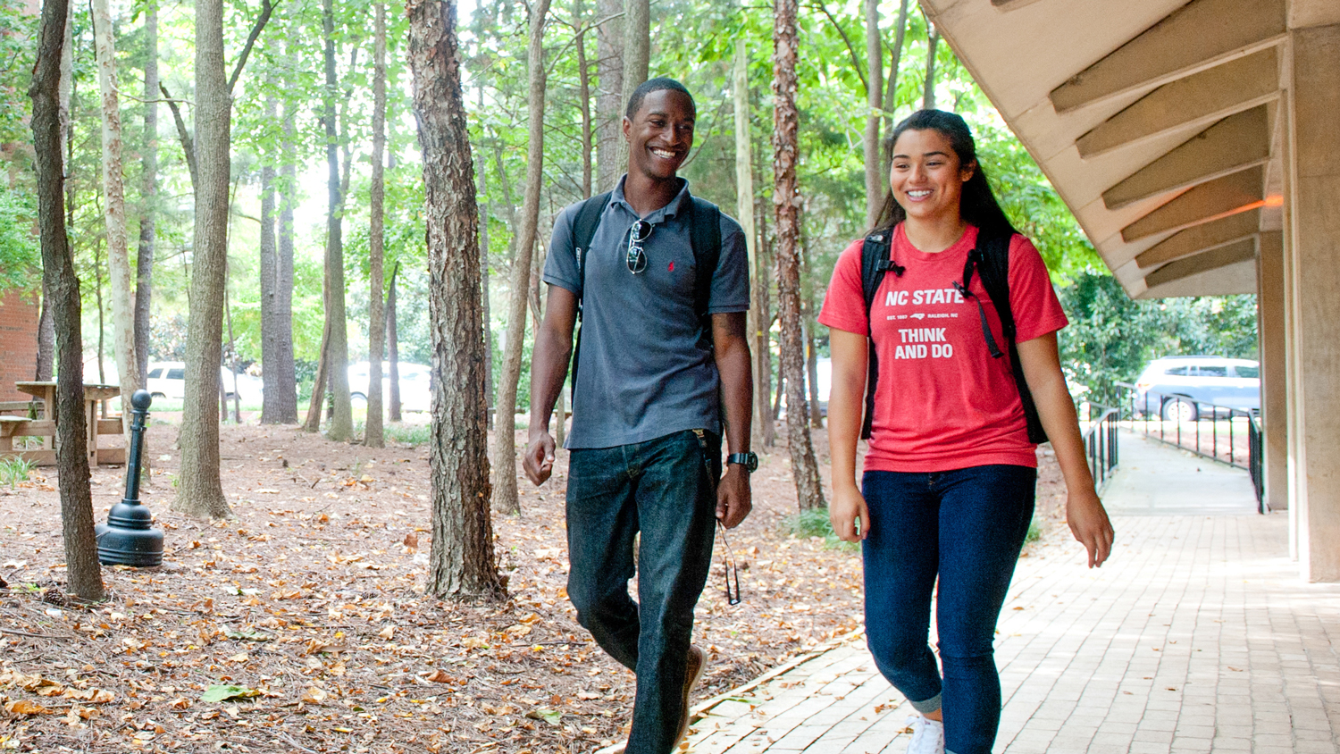 Students walking near Biltmore Hall - Admissions - College of Natural Resources at NC State University