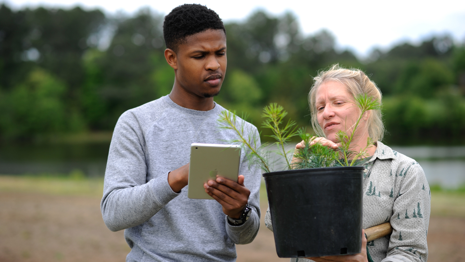 Student learns about plants in the College of Natural Resources at NC State