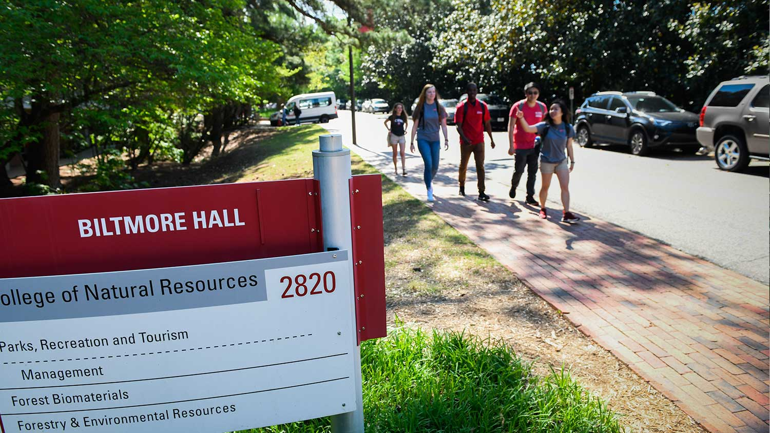 Students Walking near Biltmore Hall - College of Natural Resources at NC State University