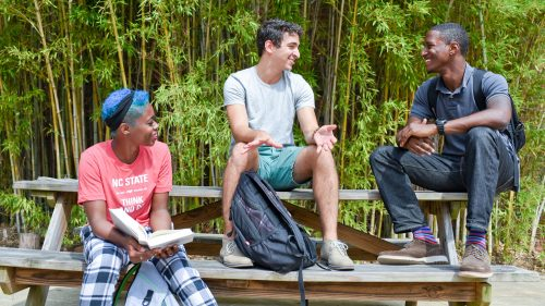 students talking outside - Fisheries, Wildlife and Conservation - College of Natural Resources at NCState University